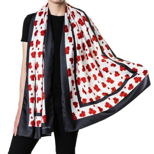 Poppy-print scarf, full length