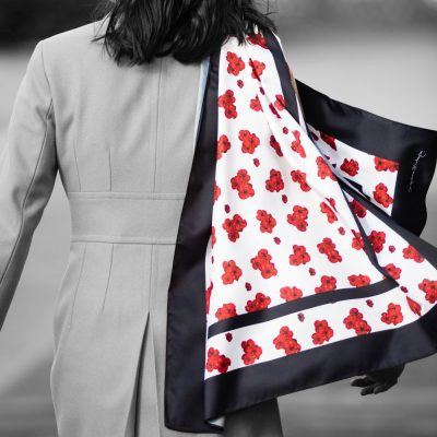 Poppy-print Scarf worn with coat