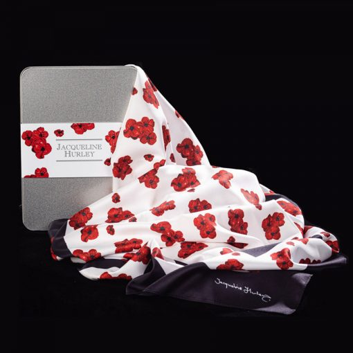 Poppy-print scarf and gift packaging