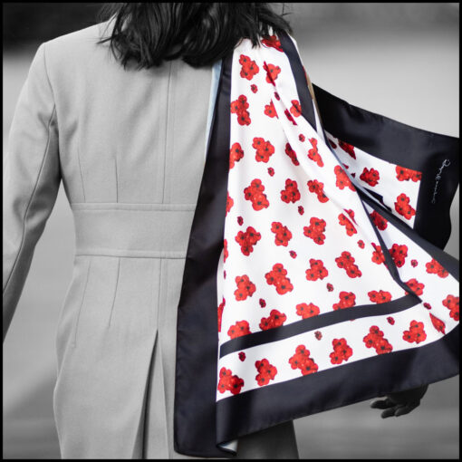 'Timeless' poppy print scarf in white, by Jacqueline Hurley