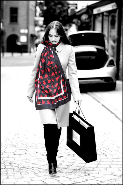 'Timeless' poppy print scarf in black, by Jacqueline Hurley