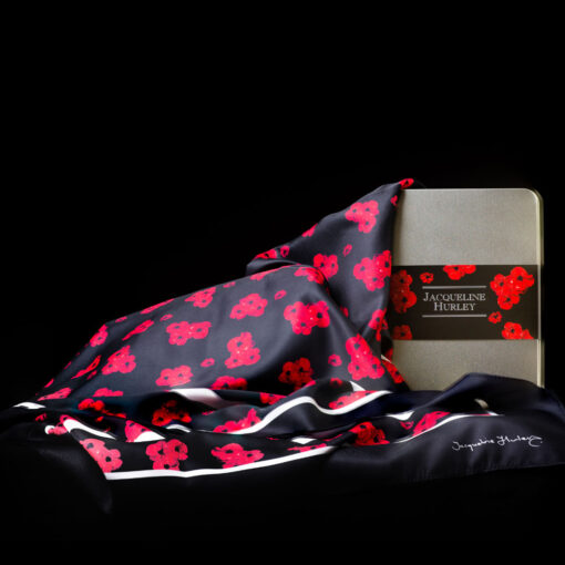 'Timeless' poppy scarf in black with gift packaging